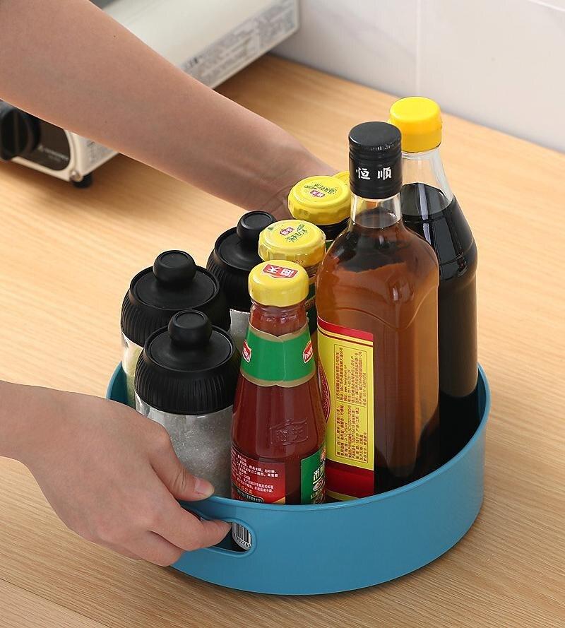 Кухонный поднос с вращением на 360 градусов, кухонные контейнеры для хранения специй, закусок, фруктов, тарелка для еды, нескользящий поднос для хранения сушеных продуктов в ванной комнате-4