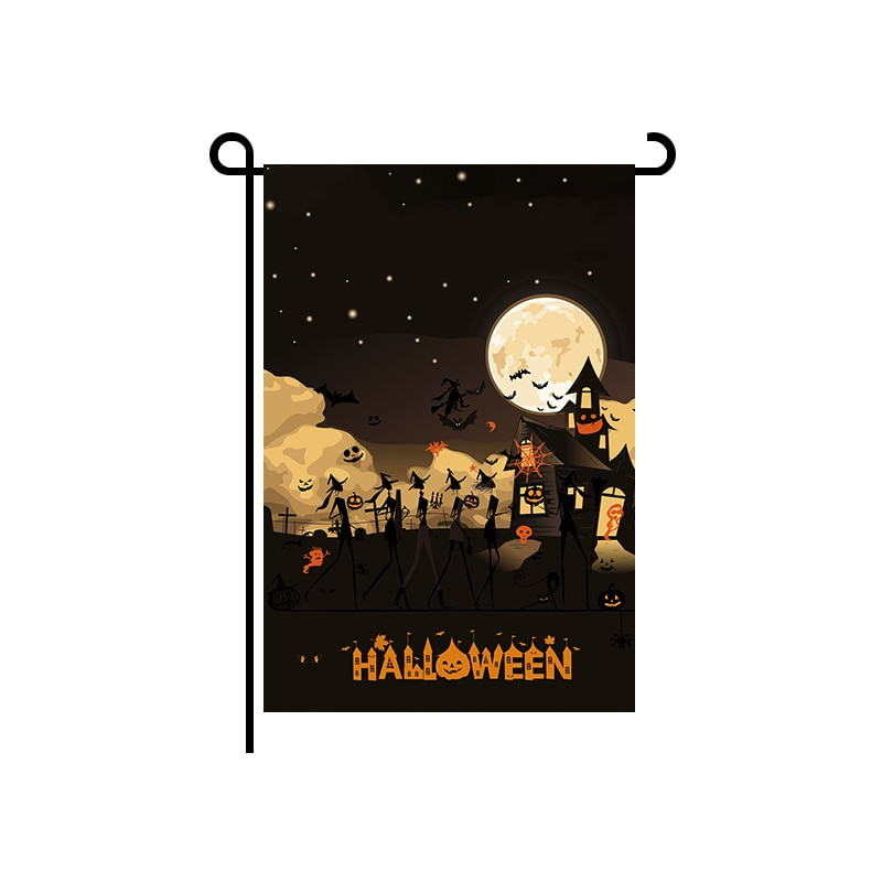 Flagnshow Halloween Garden Flags with Free Shipping 12x18 Inch Polyester Hallowmas Decorations Flag for Yard
