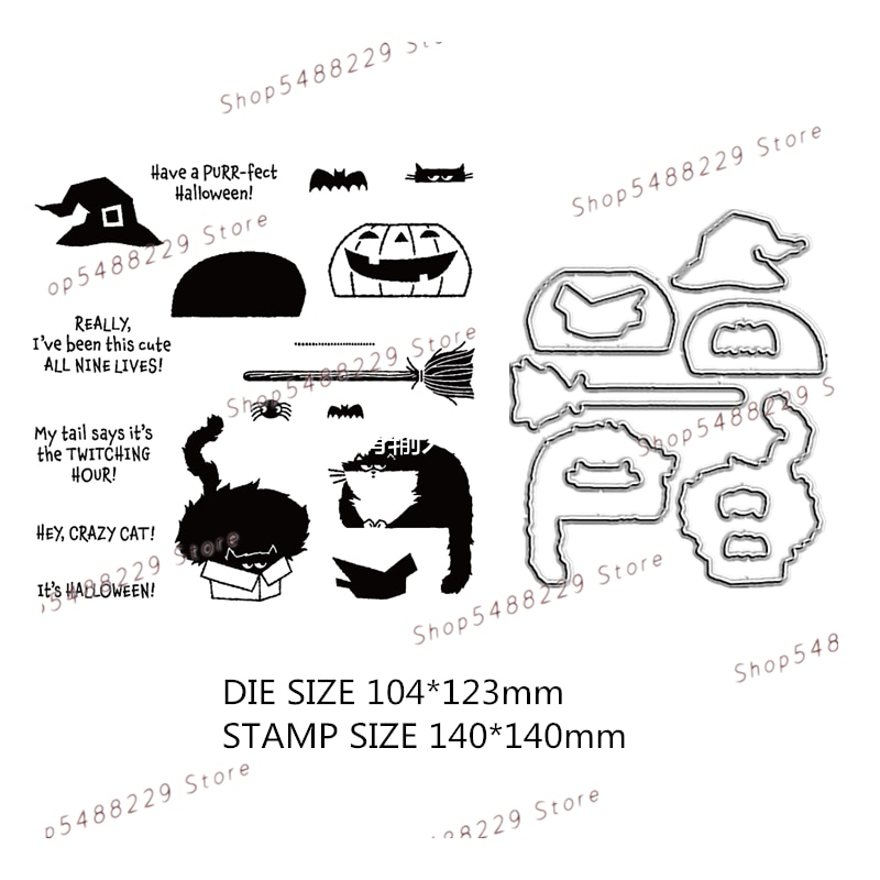 New Arrival 2021 Cutting Dies and Clear Stamps Scrapbooking For Card Making Halloween Pumpkin Cat Embossing Frame Card Set