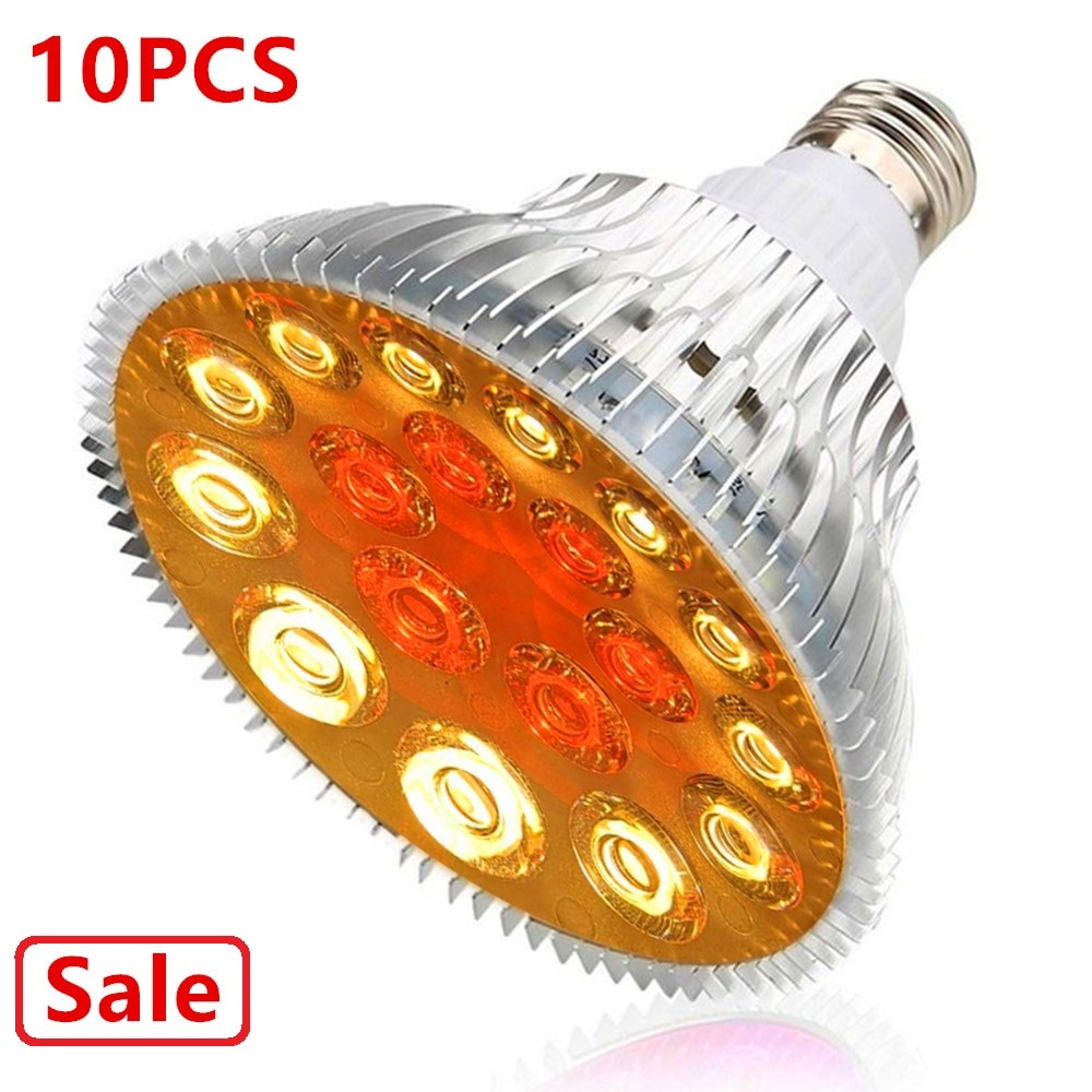 (10pcs/Lot) E27 54W LED Grow Light 12Warm+6Red Full Spectrum indoor Greenhouse Tent Flower Veg Hydroponics System Plant Lamp greenhouse led grow light e27 15w 21w 27w 36w 45w 54w led grow lamp for plants flower plant orchids seedlings hydroponics system