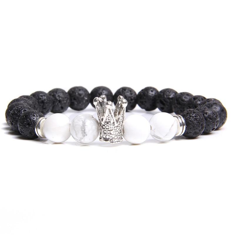 AITIEI High Quality Gold Black Crown Hematite Bead Bracelet Ladies Men Natural Stone CZ Crown Beaded Rhinestone Bracelet Gifts