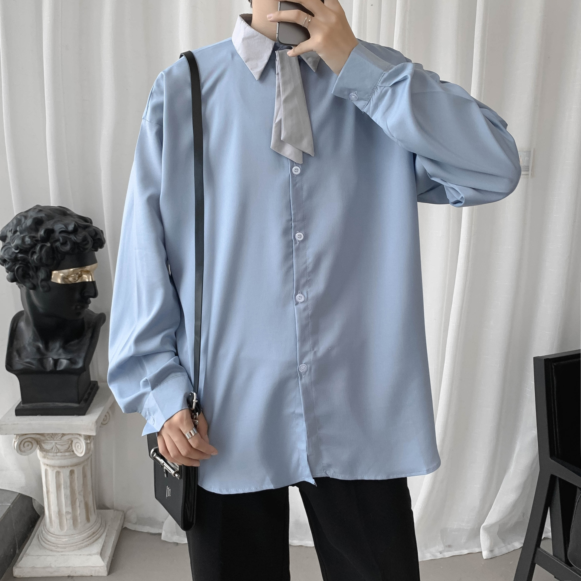 2021 Lapel Long Sleeve Button Streetwear Shirts with Tie Personality Turn-Down Collar Stylish Camisas Male JK Student Shirt