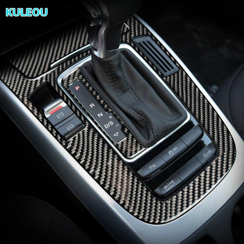 For Audi A4 B8 A5 Q5 Interior accessories Carbon Fiber Car Center Control Gear Shift Panel Decorative Sticker Cover Car Styling