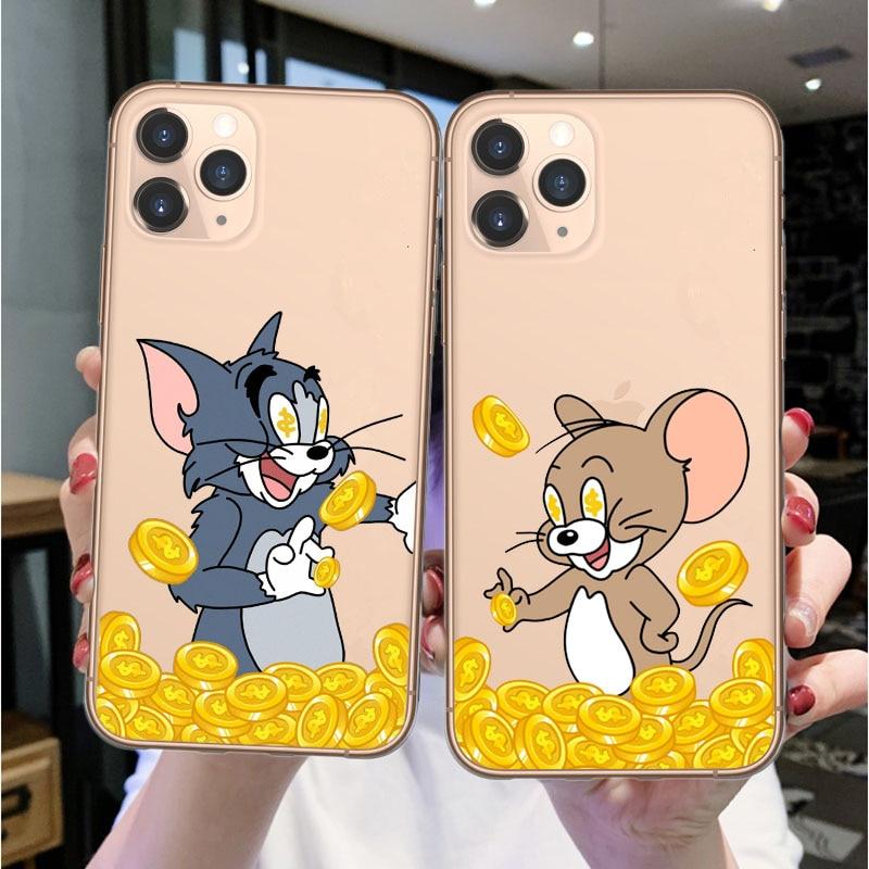 Funda de teléfono de silicona suave pareja gato de la suerte para iPhone 11 Pro Max 2019 X XS MAX XR 6 6s 7 8 Plus funda transparente Coque