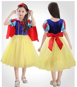 Children Party Frocks Satin Princess Snow White Costumed Characters for Birthday Parties Halloween Costume for Kids Girls