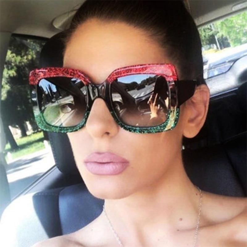New Trends Oversized Sunglasses for Women Brand Designer Retro Sun Glasses Red Green Shades Eyewear Woman