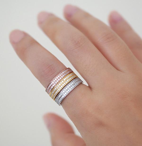 2019 moda 100% 925 prata esterlina qualidade superior cz eternity band feminino anel duplo raw engagement band faísca anéis diariamente