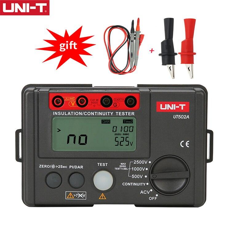 Megger متر UNI-T UT502A الرقمية جهاز اختبار مقاومة العزل 500-2500 فولت Megohmmeter 30 ~ 600 فولت التيار المتناوب الجهد متر LCD الخلفية