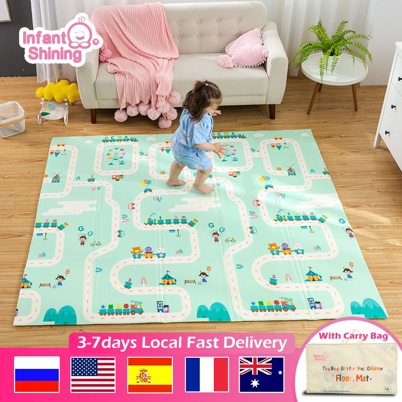 Infant Shining Baby Mat Portable Foldable Baby Climbing Pad 180X200x1CM Baby Play Mat Foam Pad XPE Tasteless Parlor Game Blanket