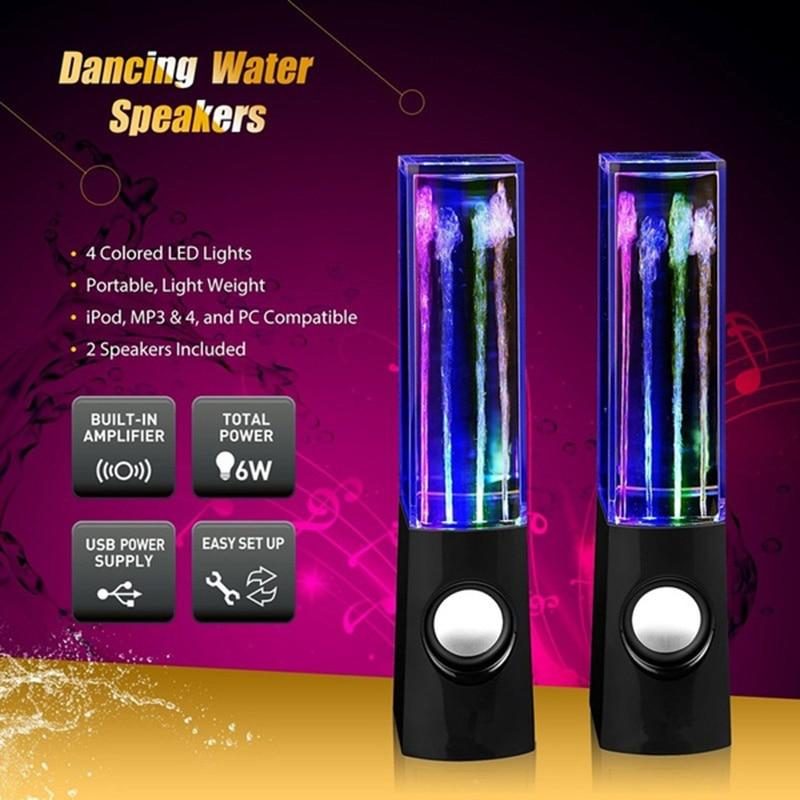 Светодиодный светильник, фонтанный светильник, динамик s, 2 шт., цветной светильник s, танцующая вода, музыка для ПК, ноутбука, для телефона, по...