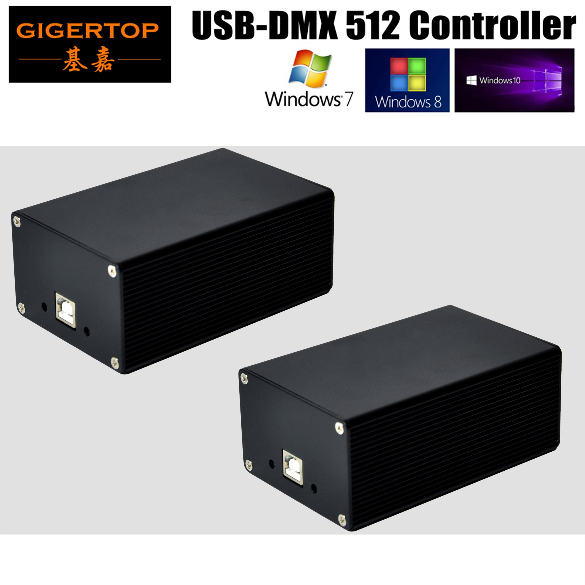 Envío gratis 2XLOT USB DMX 512 controlador de iluminación de escenario FreeStyler DMX Control HD512 caja fuente de alimentación USB Mini DMX512 Consolador