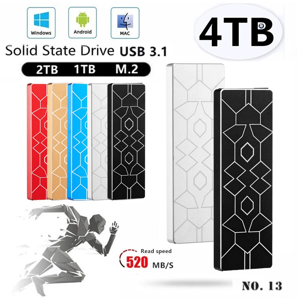 External M.2 SSD Mobile Solid State Drive Type-C 3.1 High-speed Hard Drive for PC, Mac, Laptop, Xbox Compatible USB 2.0 2TB