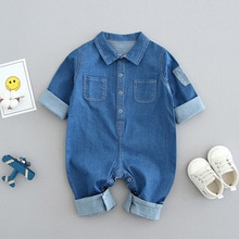 0-2-year-old Baby Clothes, Spring, Summer and Autumn, Long-sleeved Baby Boys' Jumpsuits, Cowboy Clim