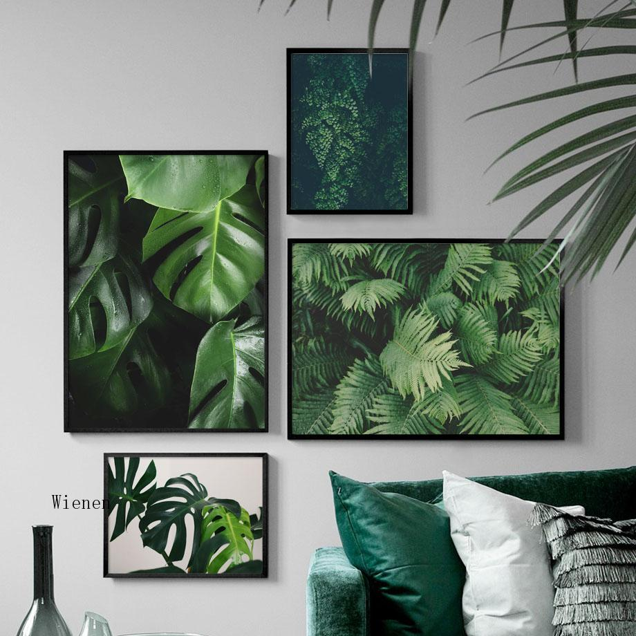 Nordic Tropical Plant Wall Art Print Canvas Painting Fresh Green Leaves Posters and Prints Pictures for Living Room Decor