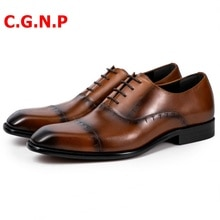 C.G.N.P Men Dress Shoes Genuine Leather Shoes Imported Calf Leather Oxfords Formal Shoes Italian Thr