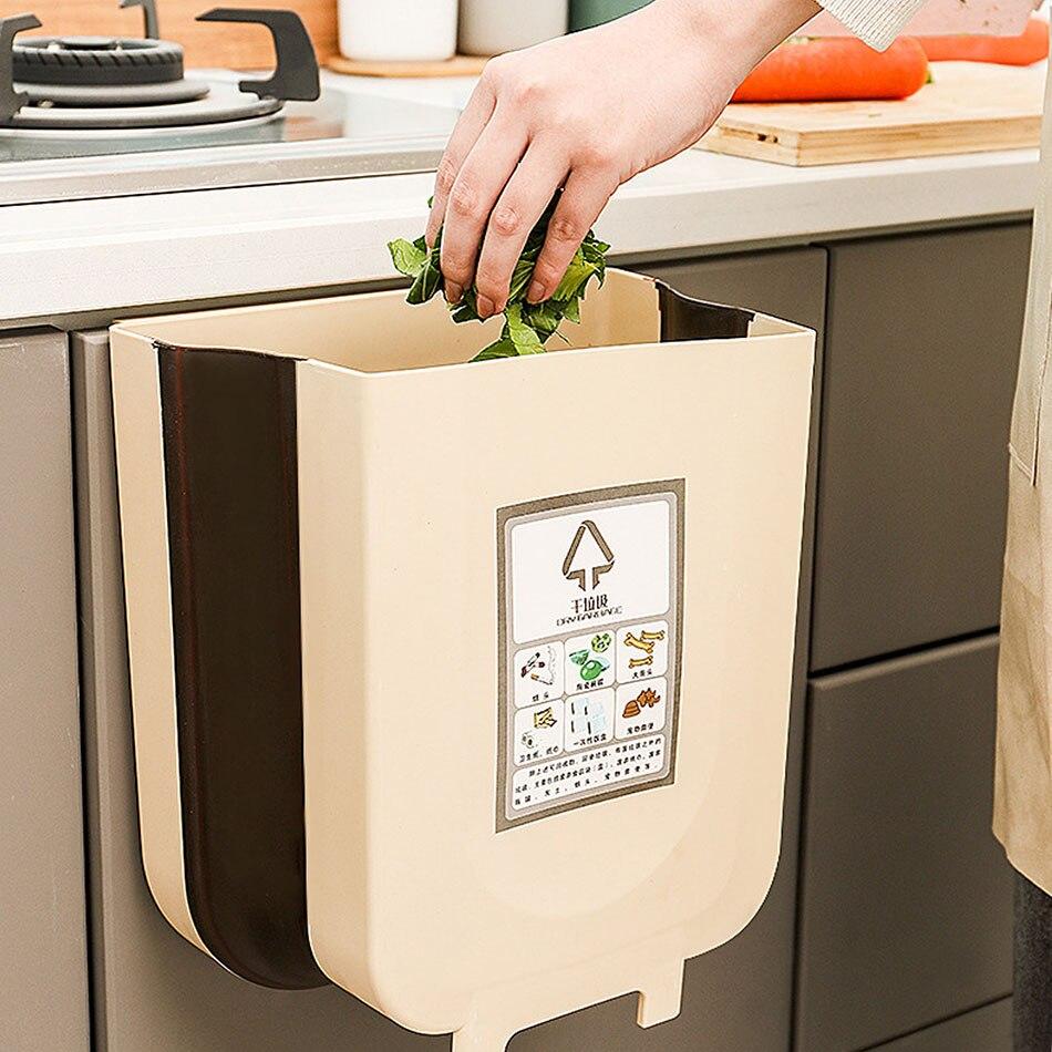 Cocina plegable desmontable residuos basura armario puerta coche cubo basura colgar montado en la pared de cubo de basura para baño de almacenamiento de residuos