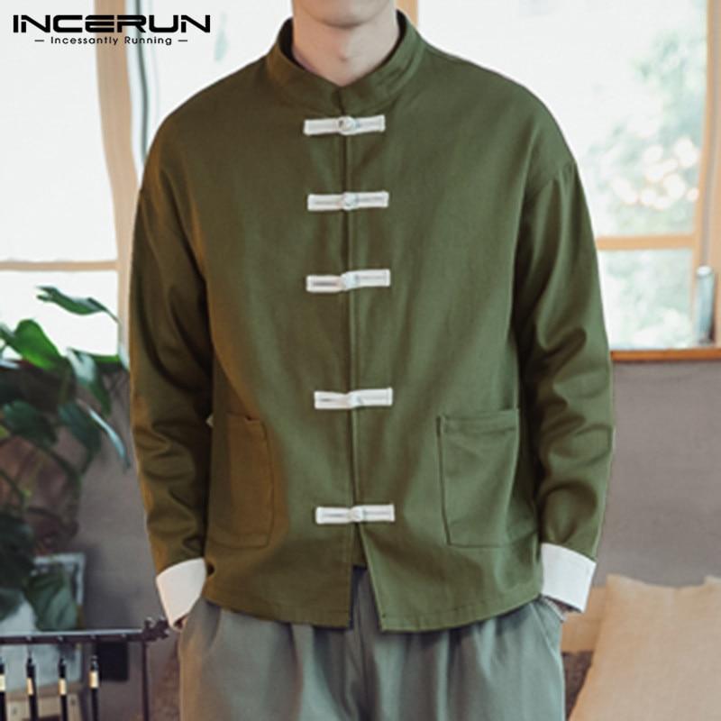 Incerun estilo chinês camisas masculinas manga longa botão up sólido elegante casual gola camisa masculina vintage streetwear topos 2019
