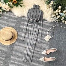 Vintage Slim Turtleneck Autumn Winter Bodycon Knit Sweater Midi Pencil Dress Party Women Casual Long Sleeve Sheath Warm Vestidos