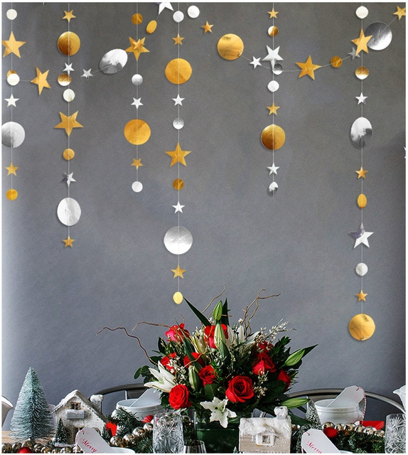 4m Circle Star Garland Paper Garland Banner Party Decoration Bunting Wedding Birthday Party Christmas Decoration Supplies 8