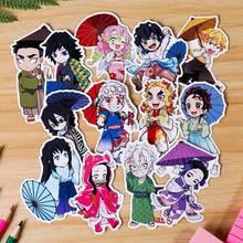 Juego de pegatinas de tarjetas de Anime Demon Slayer para niños, pegatinas de tarjetas de identificación de autobús, impermeables, 13 unids/set