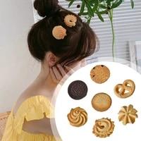 creative side top hair clips headdress orange bear cookie hair ornament fashion hair accessories cute biscuit hairpins for girls