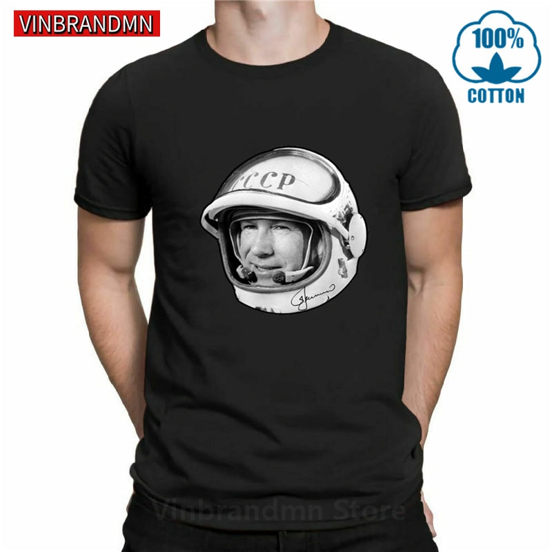 Russian CCCP Space Astronaut Alexei Leonov T shirt Russia USSR Hero Vintage T-shirt Soviet Union Space Programme Tee Tops hombre