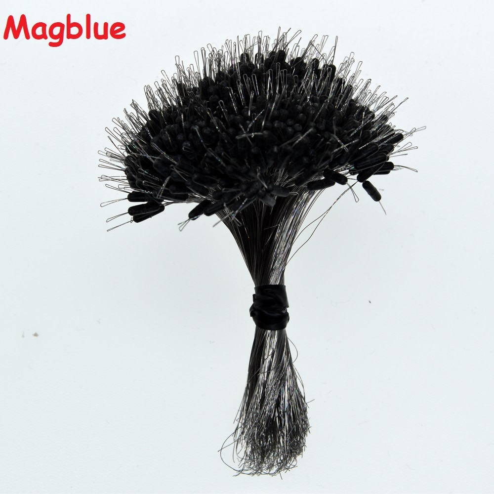 Magblue 100pcs/lot Fishing Silicone space beans S/M/L# Black Straight column Stopper Connector Fish Line Resistance Accessories