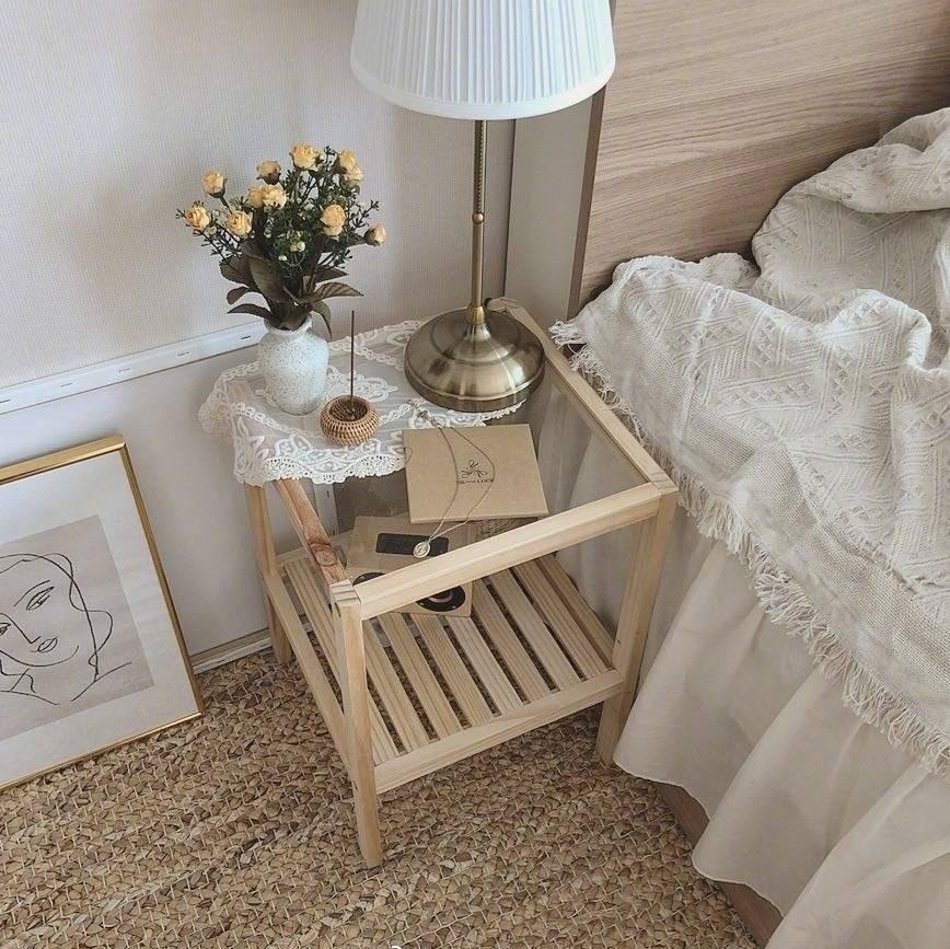Стол из массива дерева Ins, скандинавский простой прикроватный столик для дивана, прикроватный столик, простой журнальный столик, мебель, укр...