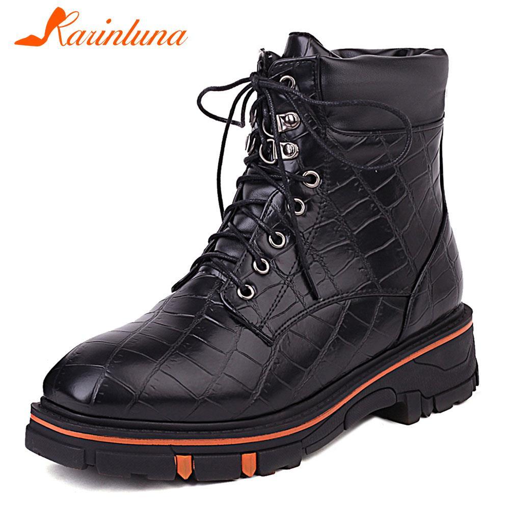 KARINLUNA ماركة تصميم الذكور تشيلسي الأحذية أزياء من الدانتل متابعة منصة مكتنزة عالية الكعب الرجال حذاء من الجلد العمل عادية حذاء رجالي