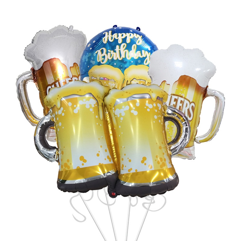 1pc new style large wine glass bottle aluminum foil balloon round beer cartoon shape birthday party wedding d