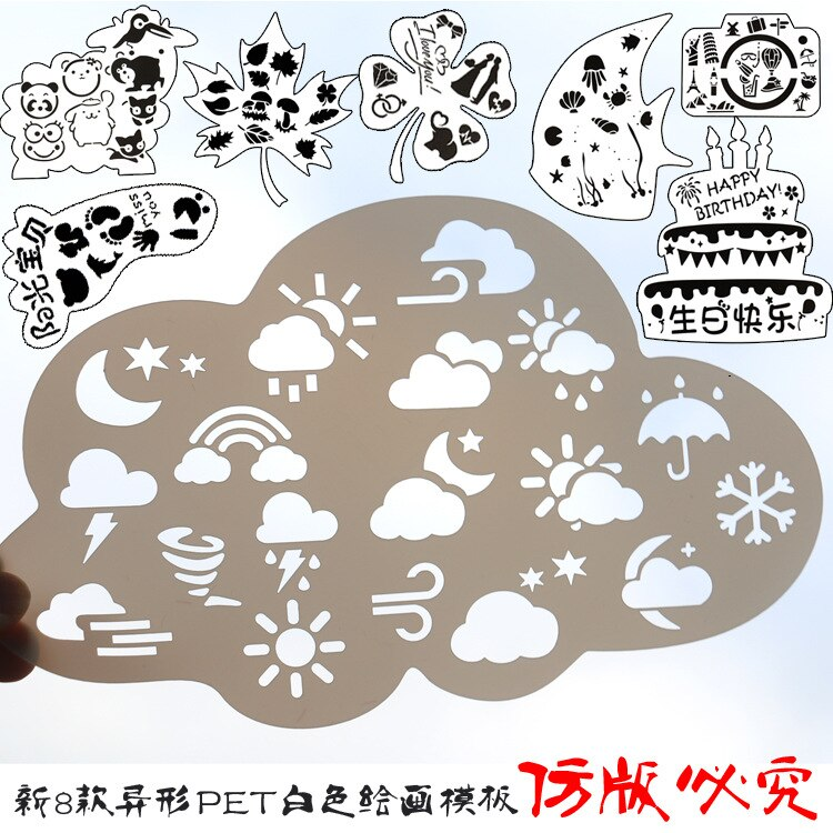 Four Leaf Clover Birthday Cake Cloud Camera Shape Layering Stencils Painting Spraying Coloring for Wall/window Party Decoration