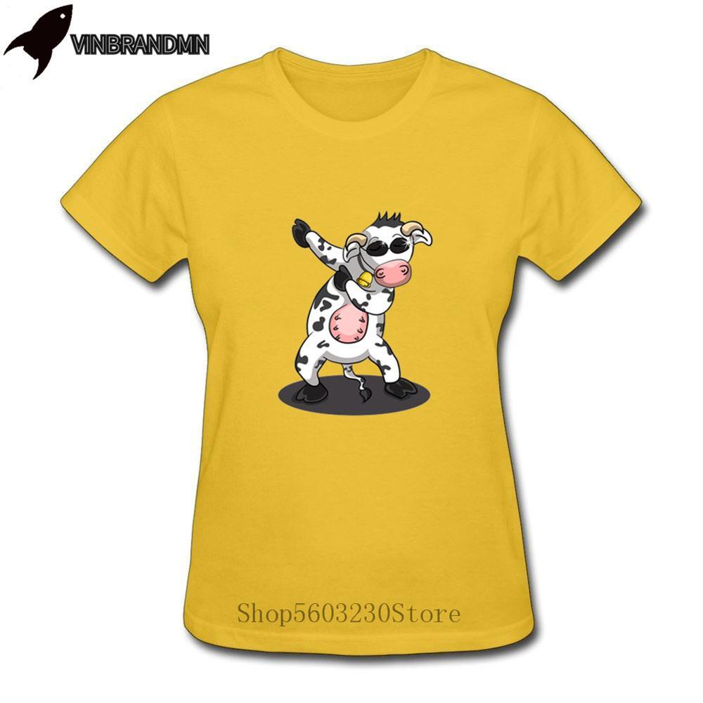 Hip Hop Dabbing Dancing vaca Tees divertido Dabbing Animal regalo camiseta parodia vaca mujeres camiseta Comic ropa de calle de dibujos animados camisetas calientes