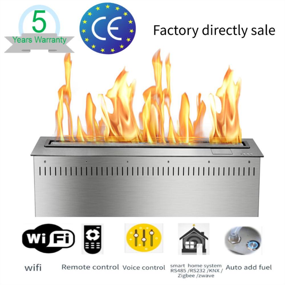 Chimenea eléctrica bioetanol de esquina inteligente con control remoto wifi inteligente de 36 pulgadas