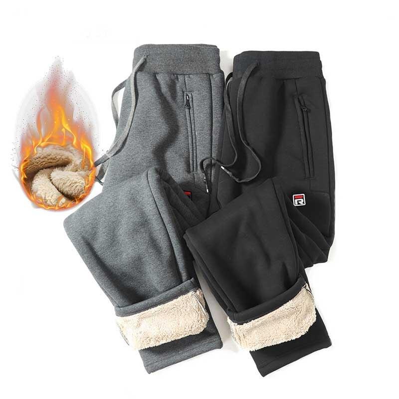 Зимние кашемировые мужские брюки, утепленные кашемировые брюки из ягненка, повседневные спортивные хлопковые брюки и леггинсы