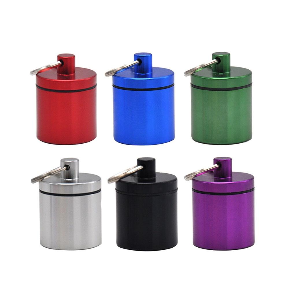 1PC 19ML aire de aluminio hermético almacenamiento tarro para alijo Multi-uso de sello de vacío de almacenamiento portátil caja portaenvases tamaño de bolsillo