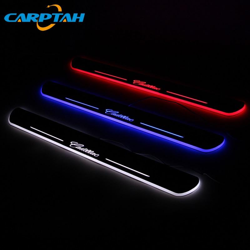 Carptah Trim Pedal LED Luz de coche Umbral de puerta placa de desgaste camino dinámica Streamer lámpara de bienvenida para Cadillac CTS 2011 - 2015 2016