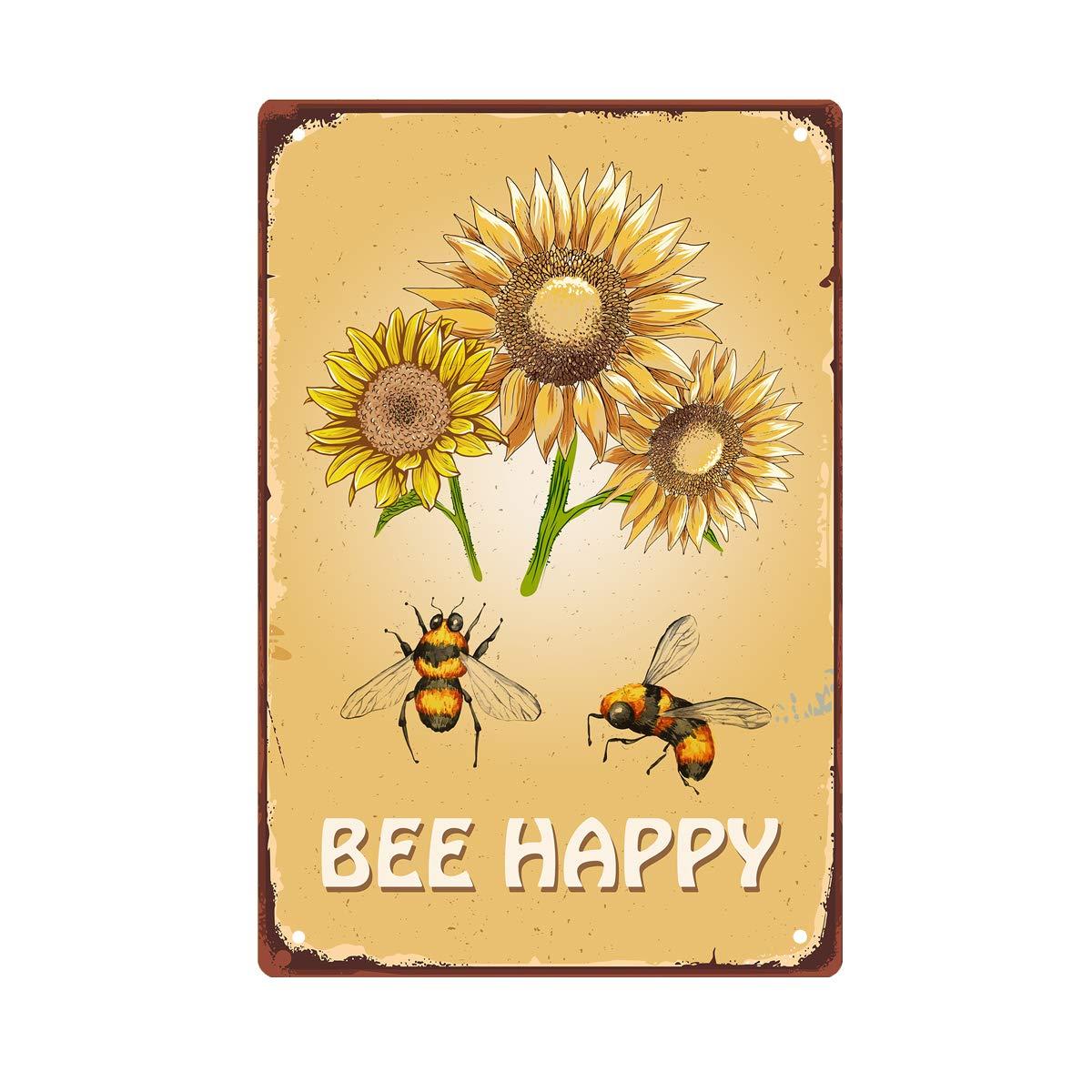 Letrero de Metal feliz párr de pared de abeja tallada 8x12 pulgadas