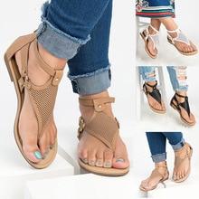 2020 été nouveau Roman clip orteil dentelle dames sandales confortable mode creux plat sandales dos fermeture éclair grande taille dames sandales