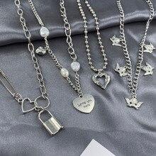 Kpop Punk Harajuku Metal Heart Wing Choker Necklaces For Women Men Collar Goth Statement Chain Neckl