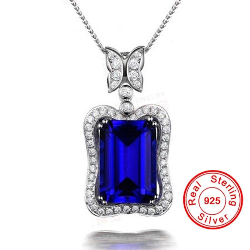 Nova safira azul pingente 925 prata esterlina cor colar para as mulheres retângulo corte azul pedra preciosa aaa zircão pingente de diamante