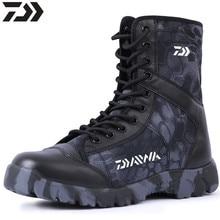2021 Daiwa Winter Outdoor Men Shoe Fishing Boot High Leather Combat Boots Waterproof Non-slip Wearab