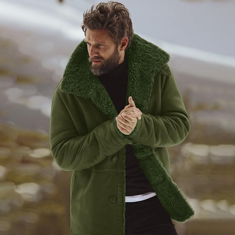 معطف رجالي سميك من القطن للتدفئة بأكمام طويلة مقاس كبير معطف مضاد للرياح معطف رجالي للشتاء غير رسمي سترة خضراء ثلجية