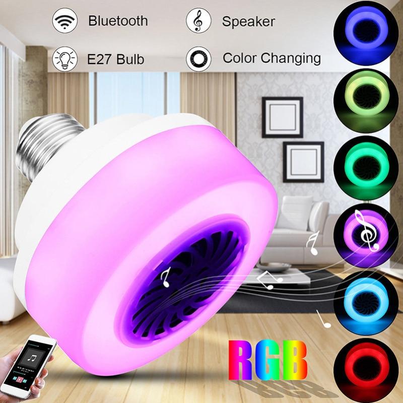 Bombilla led e27 110v inalámbrico Bluetooth bombilla altavoz RGB teléfono música Control Play lámpara inteligente bombilla fiesta luz dropship
