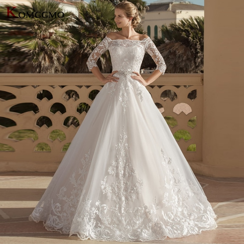 Get Luxury Off the Shoulder Embroidery Appliques Tulle Sweep Train Wedding Dress High-End Boat Neck Button Back Bridal Ball Gown