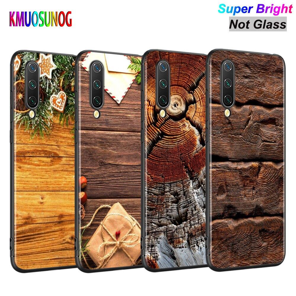 Capa preta Clássica Textura de madeira para Xiao mi mi A3 A2 A1 5X6X6 8 Lite 9 9SE CC9 F1 9T 9TPro Jogo Caso de Telefone