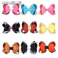 ncmama 5 handmade leopard knot hair bows for girls kids rainbow stack hair clips hairgrips fashion hair accessories