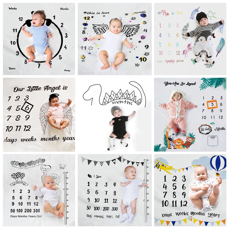 Baby Photo Background Cloth Newborn Photography Background Blanket Props Moon Age Belt Frame Month Hundred Days Full Moon Growth full moon
