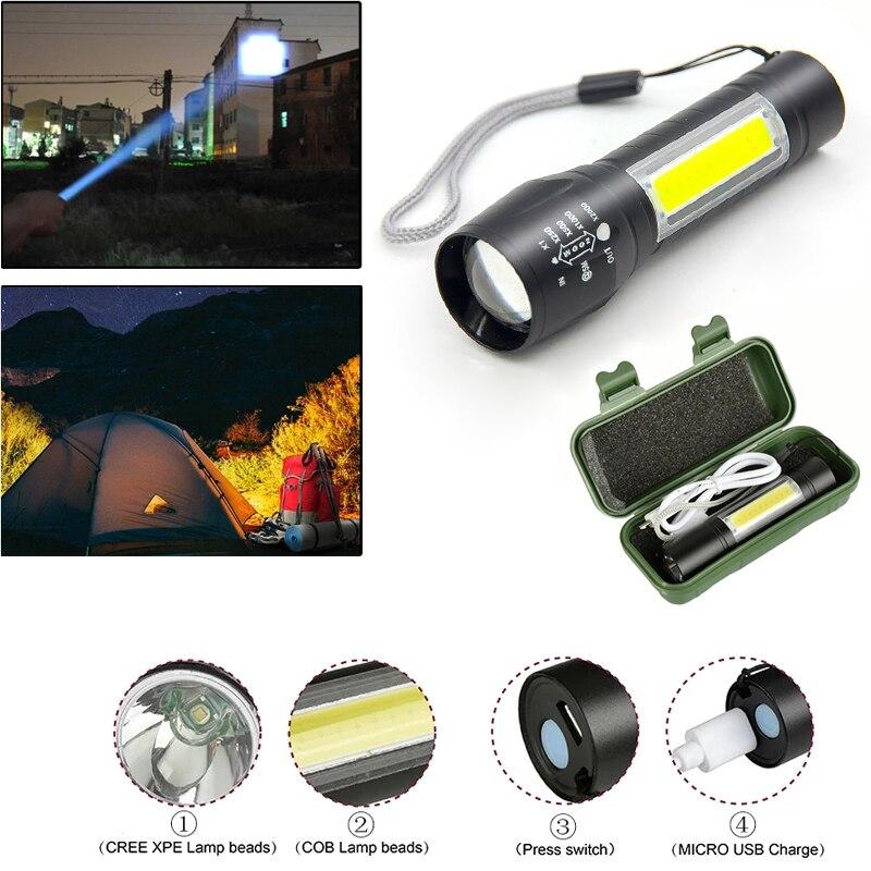 Портативный USB Перезаряжаемые светодиодный вспышка светильник XML-T6 + COB светодиодный автономные Батарея Водонепроницаемый аварийное освеще...