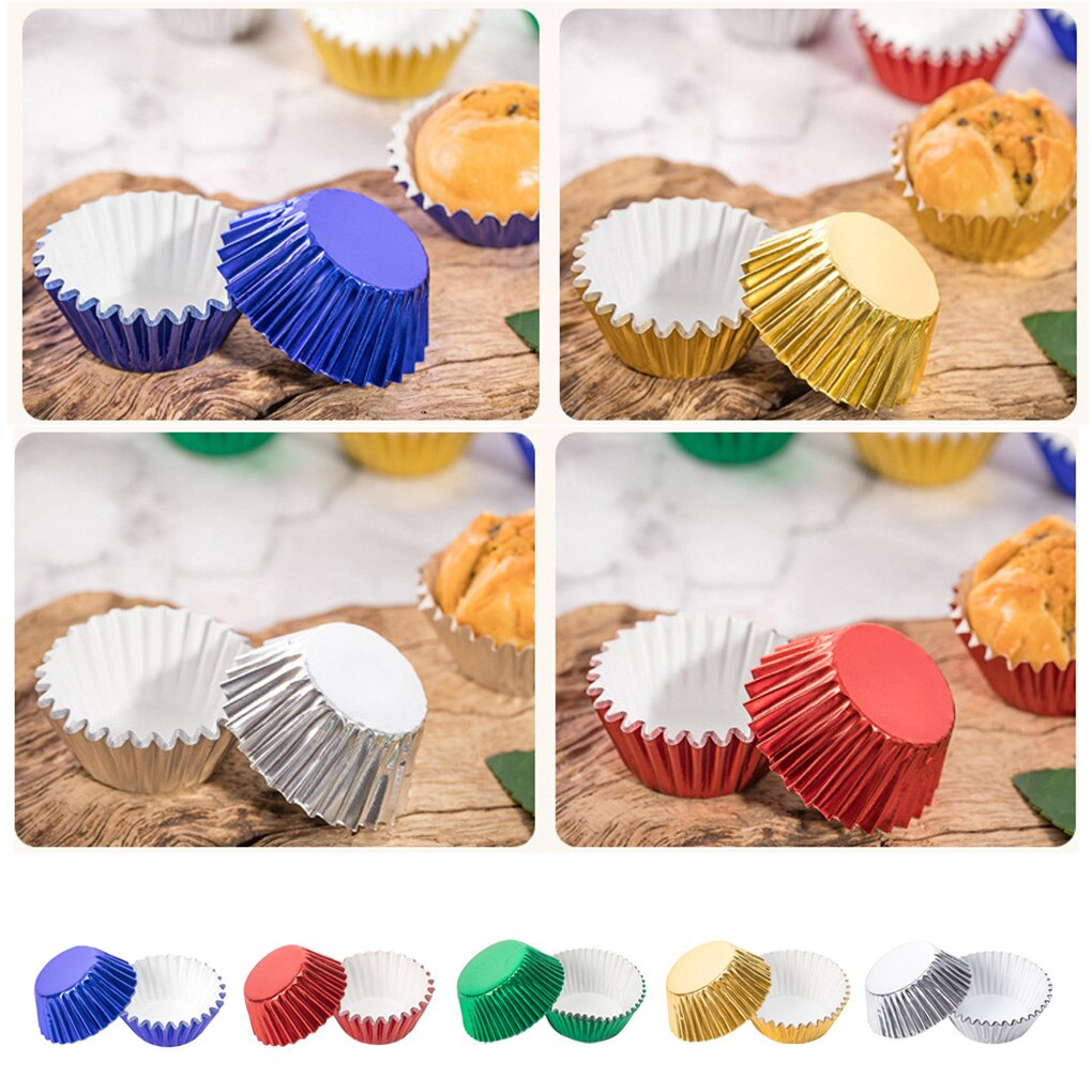 100pcs Paper Cupcake Cup Aluminium Foil Muffin Baking Cups Liners Cupcakes Case Container