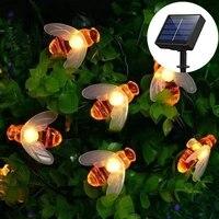 50led honey bee solar led light outdoor string lights fairy lights christmas garland garden decoration outdoor holiday lighting